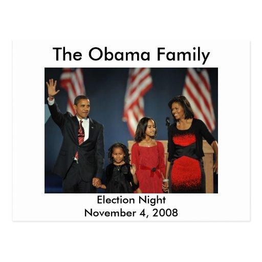 Nuit d'élection de famille d'Obama Cartes Postales