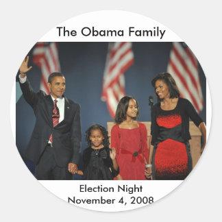 Nuit d'élection de famille d'Obama Sticker Rond