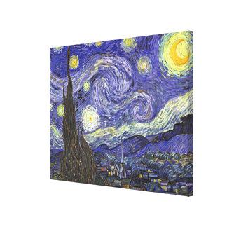 Nuit étoilée de Van Gogh, paysage vintage de Impression Sur Toile