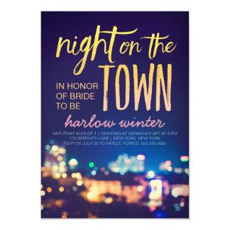 Nuit sur la partie de Bachelorette de ville Carton D'invitation 12,7 Cm X 17,78 Cm