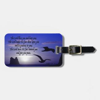 num 6:24-26 on double bird blues luggage tag