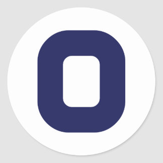 Number 0 classic round sticker