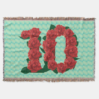 Number 10 10th birthday red roses floral blanket throw blanket