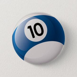 NUMBER 10 BILLIARDS BALL 2 INCH ROUND BUTTON