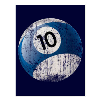 NUMBER 10 BILLIARDS BALL - ERODED STYLE POSTCARD
