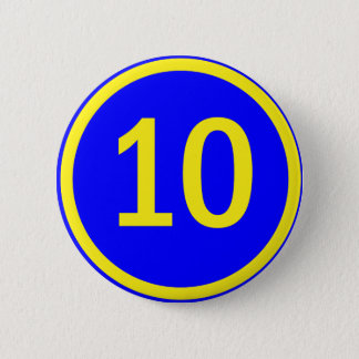 number 10 in a circle 2 inch round button