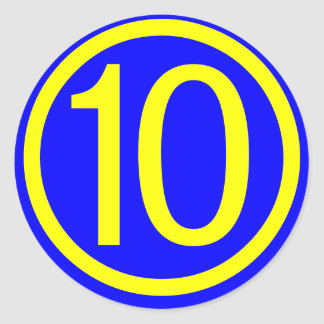number 10 in a circle, blue background round sticker