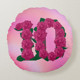 Number 10 pink roses floral cute 10th pillow