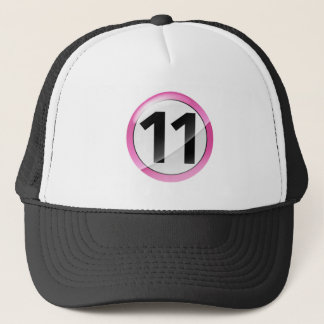 Number 11 pink trucker hat