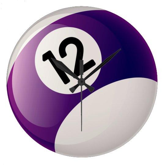 Number 12 Billiards Ball Clock