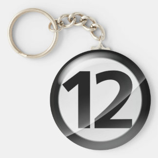 Number 12 black Key Chain