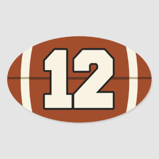 Number 12 Football Sticker. Oval Sticker