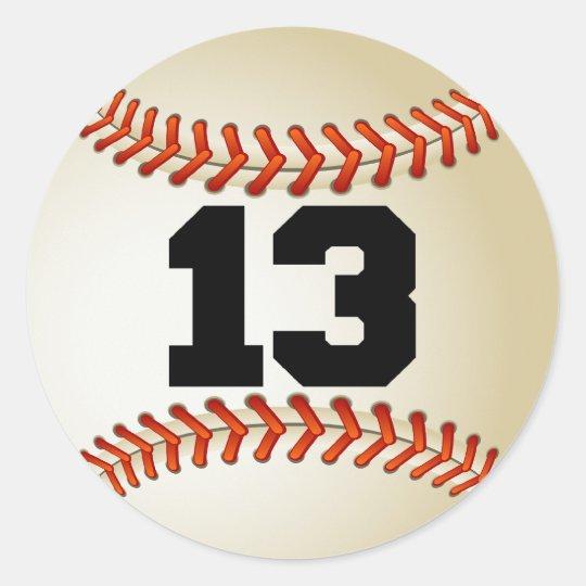Number 13 Baseball Classic Round Sticker