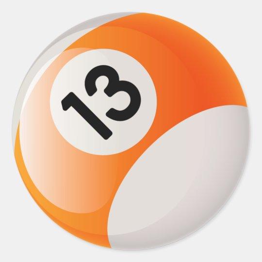 Number 13 Billiards Ball Classic Round Sticker Zazzle Ca