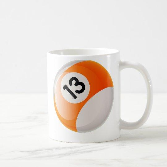 NUMBER 13 BILLIARDS BALL COFFEE MUG