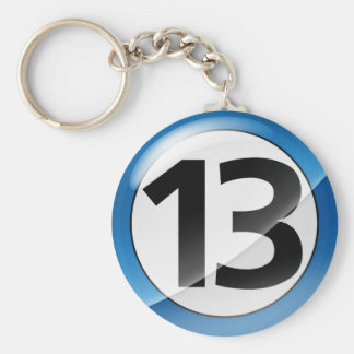 Number 13 blue Key Chain