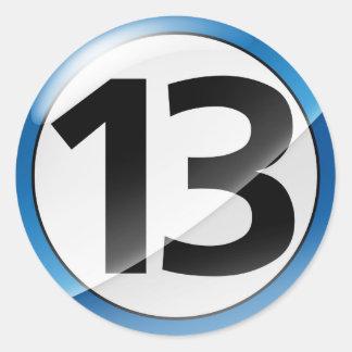 Number 13  blue sticker