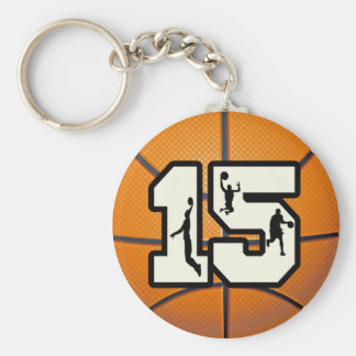 Number 15 Basketball and Players Basic Round Button Keychain
