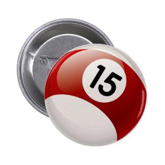 NUMBER 15 BILLARDS BALL 2 INCH ROUND BUTTON