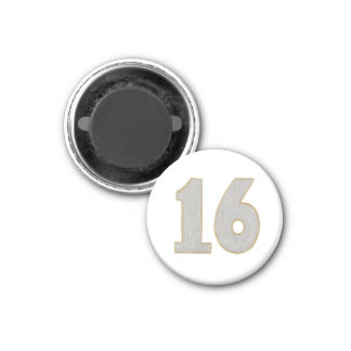 Number 16 magnet in silver and gold