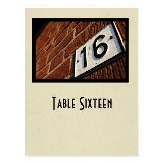 number 16 table postcard