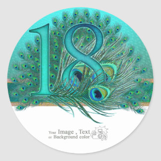 Number  17 / age / years / 17th birthday template classic round sticker