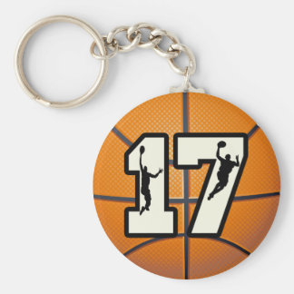 Number 17 Basketball and Players Keychain