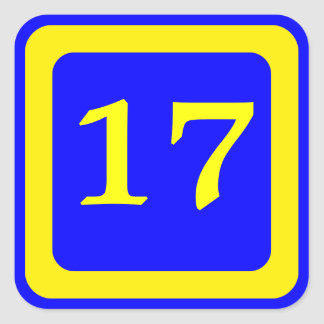number 17, blue background, yellow frame square sticker
