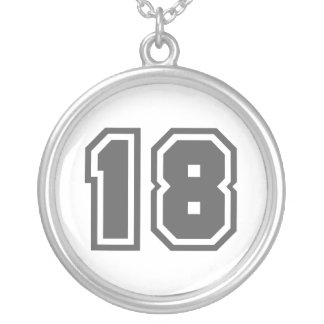 Number 18 silver plated necklace