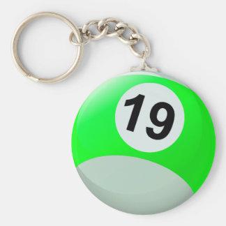 Number 19 Billiards Ball Basic Round Button Keychain