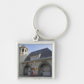 Number 19 Engine House in Washington, D.C. Silver-Colored Square Keychain