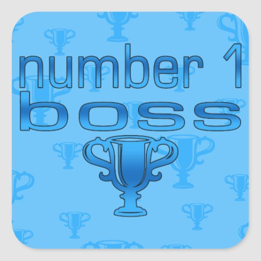 Number 1 Boss in Blue Square Stickers