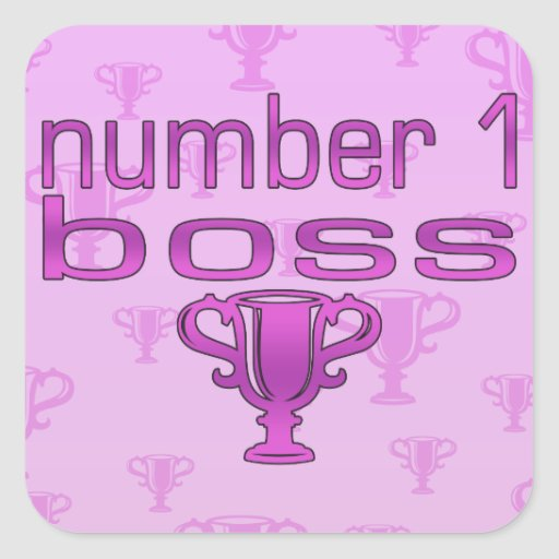 Number 1 Boss in Pink Square Stickers