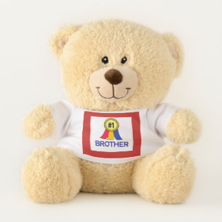 Number 1 Brother Ribbon Teddy Bear