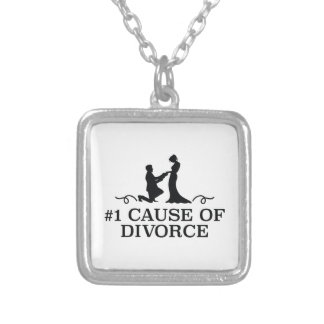 Number 1 Cause Of Divorce Silver Plated Necklace
