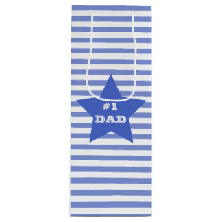 NUMBER 1 DAD Father's Day Navy Blue Star Gift Bag