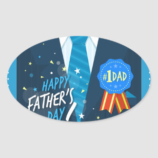 Number 1 DadNumber one dad blue badge tie suit fat Oval Sticker