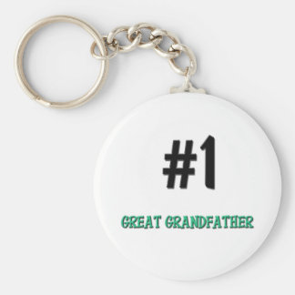 Number 1 Great Grandfather Basic Round Button Keychain