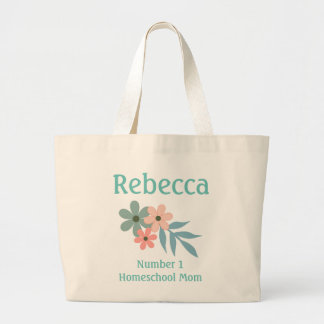 Number 1 Homeschool Mom Peach and Blue Flower Large Tote Bag