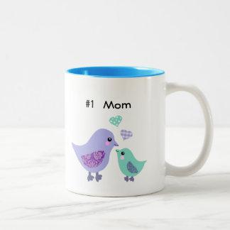 Number 1 mom cute purple & blue bird & chick mug
