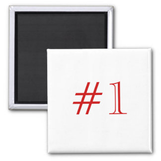 Number 1. Red and White. Custom Magnet