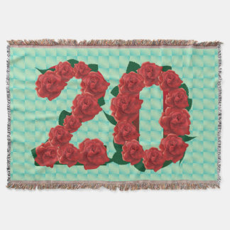 Number 20 20th birthday red roses floral blanket