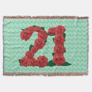 Number 21 21st birthday red roses floral blanket throw blanket
