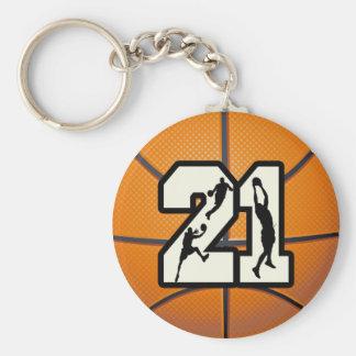 Number 21 Basketball Basic Round Button Keychain