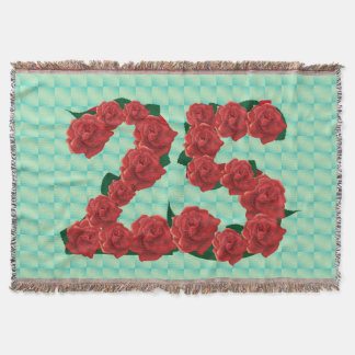 Number 25 25th birthday red roses floral blanket