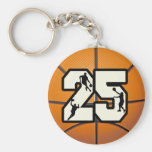 Number 25 Basketball Keychains