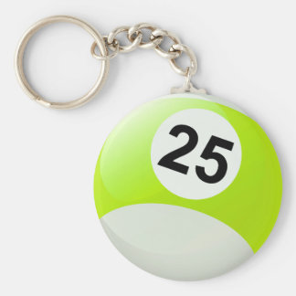 Number 25 Billiards Ball Keychain