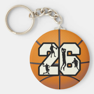 Number 26 Basketball Keychain