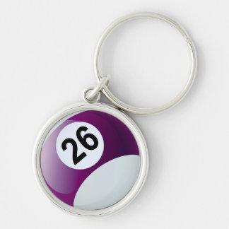 Number 26 Billiards Ball Keychain
