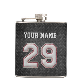 Number 29 Baseball Stitches with Black Metal Look Flasks